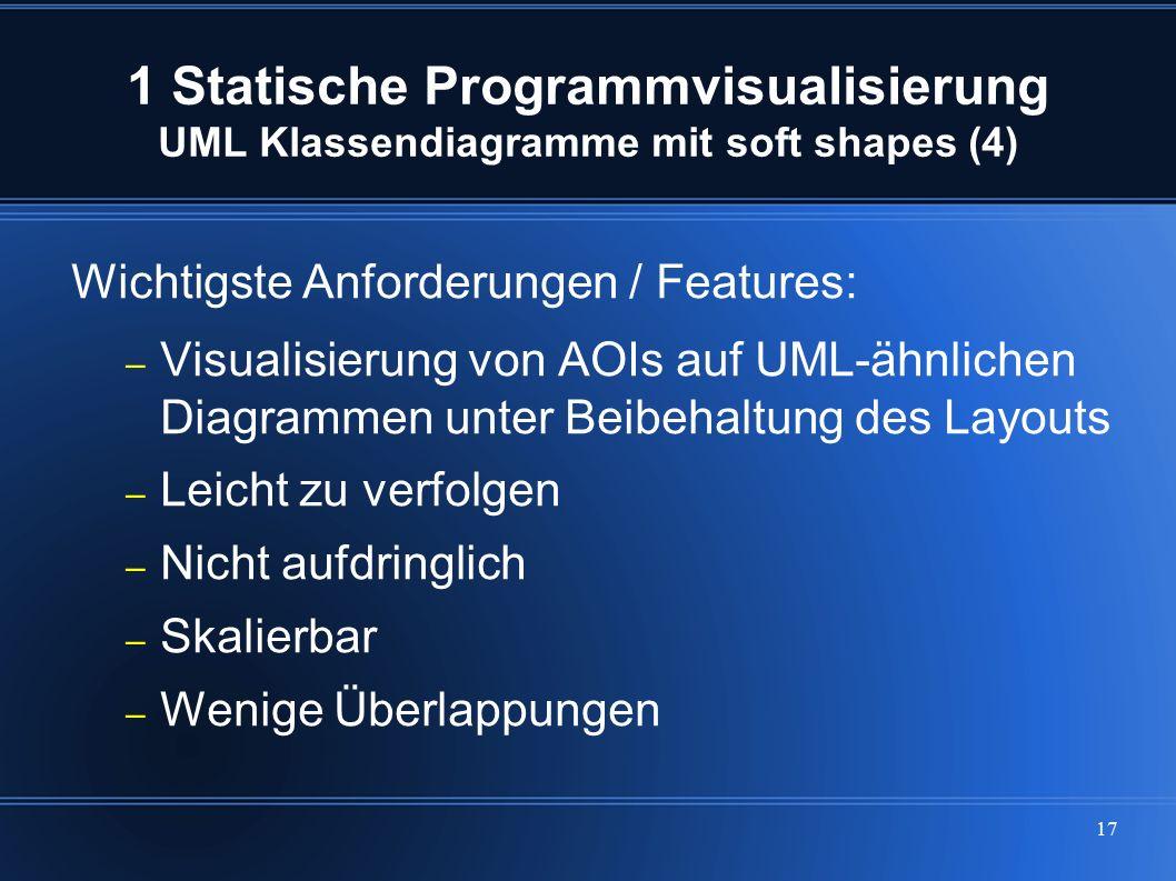 17 1 Statische Programmvisualisierung UML Klassendiagramme mit soft shapes (4) Wichtigste Anforderungen / Features: – Visualisierung von AOIs auf UML-