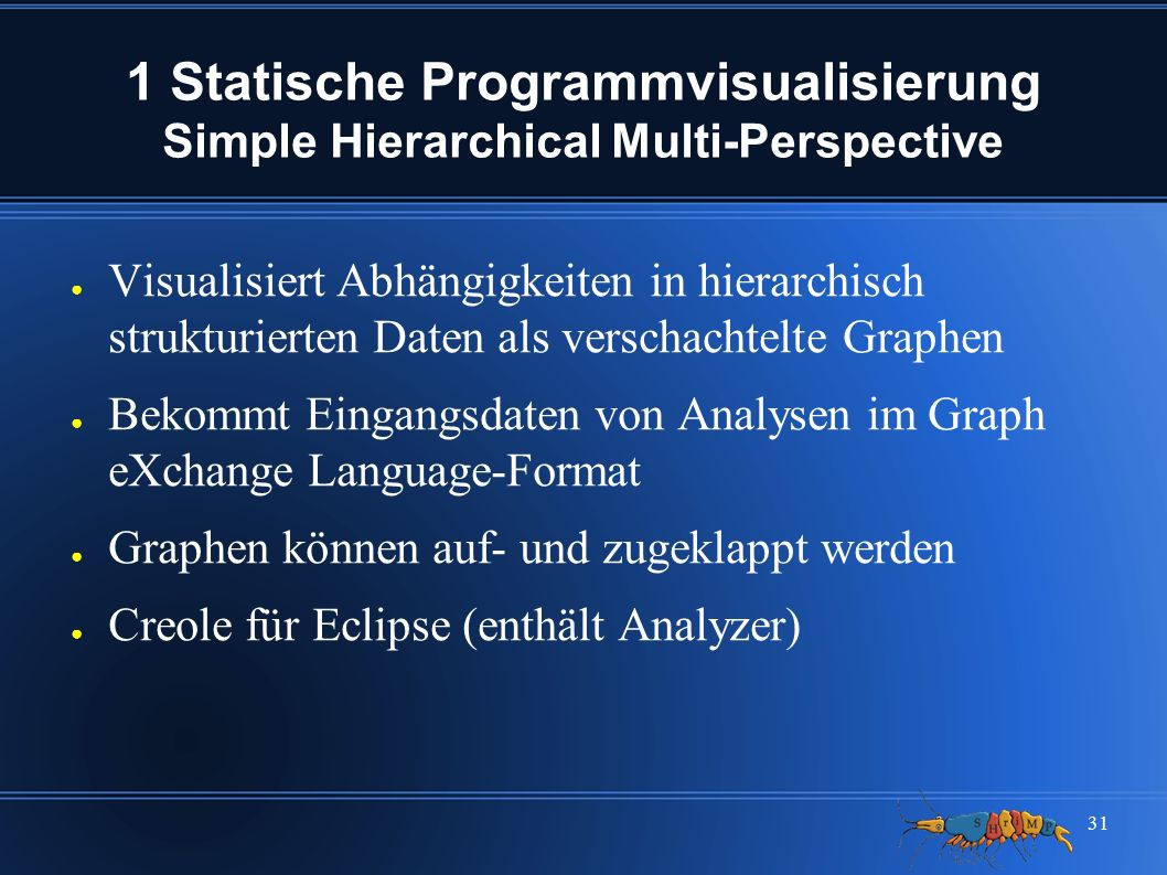 31 1 Statische Programmvisualisierung Simple Hierarchical Multi-Perspective ● Visualisiert Abhängigkeiten in hierarchisch strukturierten Daten als ver