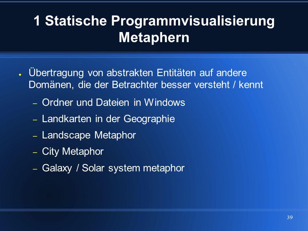 39 1 Statische Programmvisualisierung Metaphern ● Übertragung von abstrakten Entitäten auf andere Domänen, die der Betrachter besser versteht / kennt