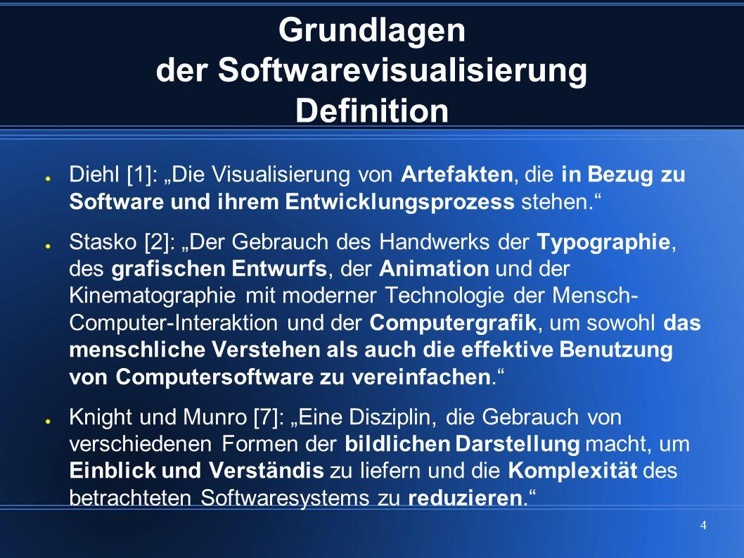 """4 Grundlagen der Softwarevisualisierung Definition ● Diehl [1]: """"Die Visualisierung von Artefakten, die in Bezug zu Software und ihrem Entwicklungspro"""