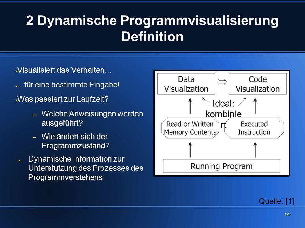 44 2 Dynamische Programmvisualisierung Definition ● Visualisiert das Verhalten... ●...für eine bestimmte Eingabe! ● Was passiert zur Laufzeit? – Welch