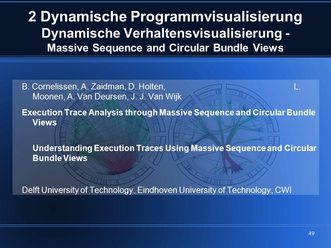49 2 Dynamische Programmvisualisierung Dynamische Verhaltensvisualisierung - Massive Sequence and Circular Bundle Views B. Cornelissen, A. Zaidman, D.