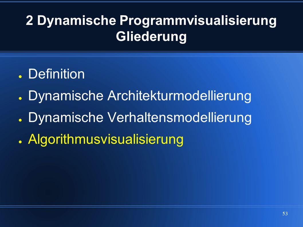 53 2 Dynamische Programmvisualisierung Gliederung ● Definition ● Dynamische Architekturmodellierung ● Dynamische Verhaltensmodellierung ● Algorithmusv
