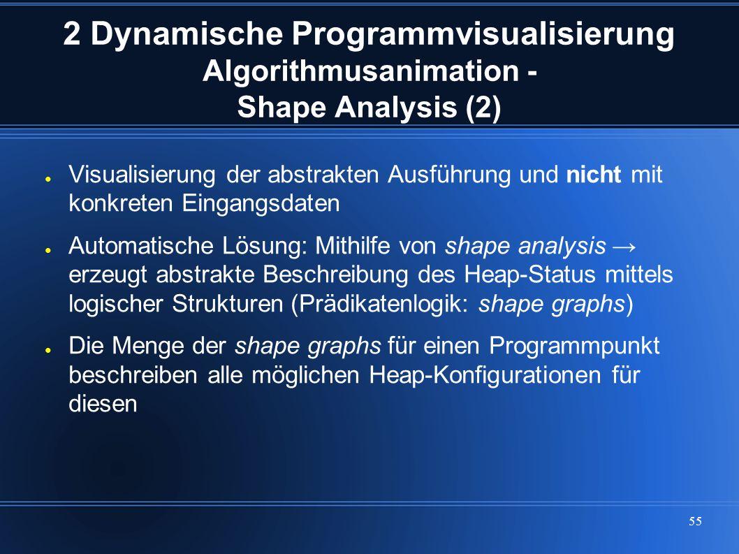 55 ● Visualisierung der abstrakten Ausführung und nicht mit konkreten Eingangsdaten ● Automatische Lösung: Mithilfe von shape analysis → erzeugt abstr
