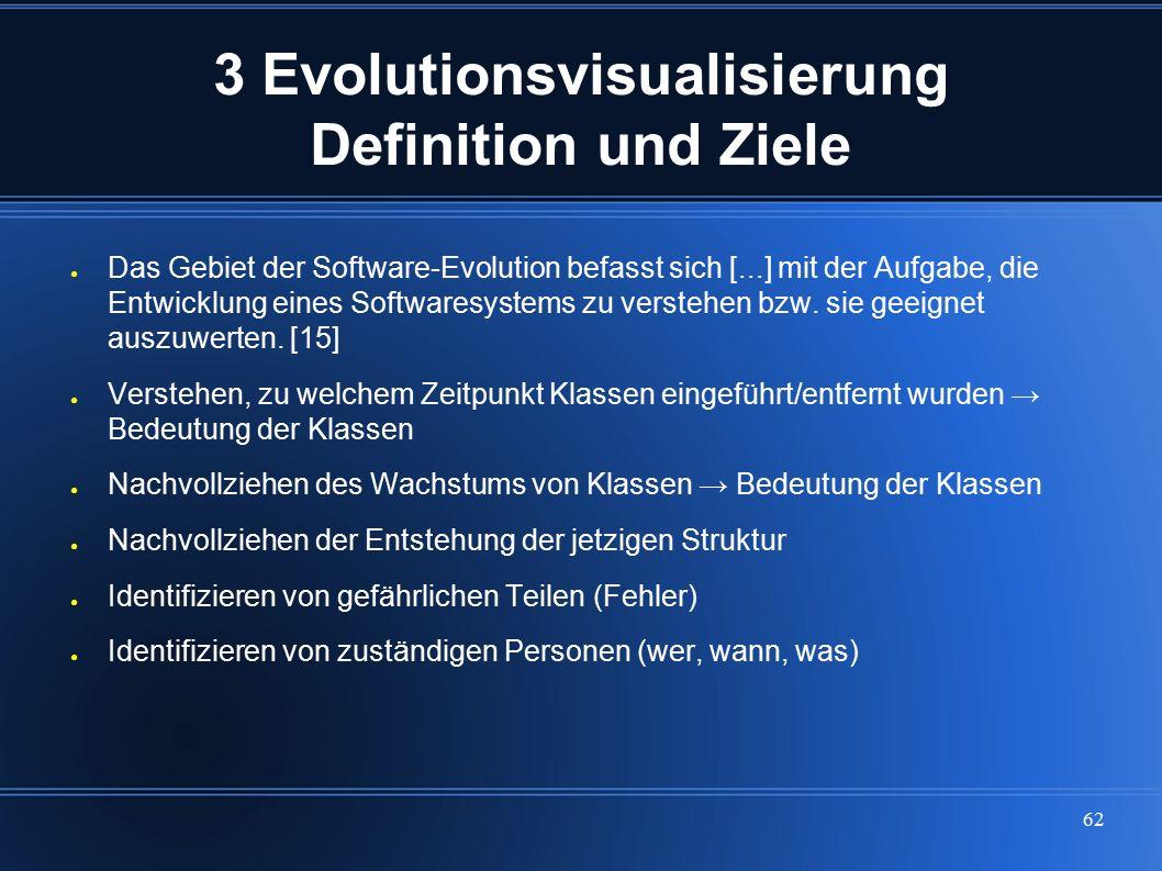 62 3 Evolutionsvisualisierung Definition und Ziele ● Das Gebiet der Software-Evolution befasst sich [...] mit der Aufgabe, die Entwicklung eines Softw