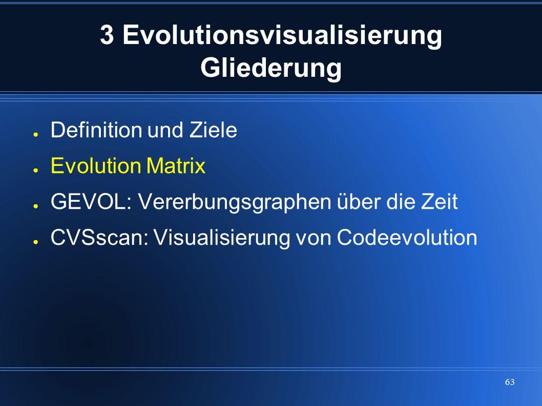 63 3 Evolutionsvisualisierung Gliederung ● Definition und Ziele ● Evolution Matrix ● GEVOL: Vererbungsgraphen über die Zeit ● CVSscan: Visualisierung