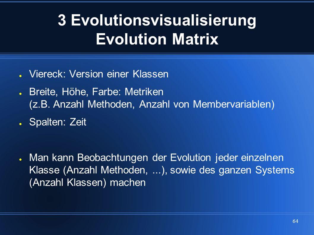 64 3 Evolutionsvisualisierung Evolution Matrix ● Viereck: Version einer Klassen ● Breite, Höhe, Farbe: Metriken (z.B. Anzahl Methoden, Anzahl von Memb