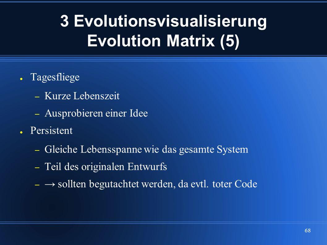 68 3 Evolutionsvisualisierung Evolution Matrix (5) ● Tagesfliege – Kurze Lebenszeit – Ausprobieren einer Idee ● Persistent – Gleiche Lebensspanne wie