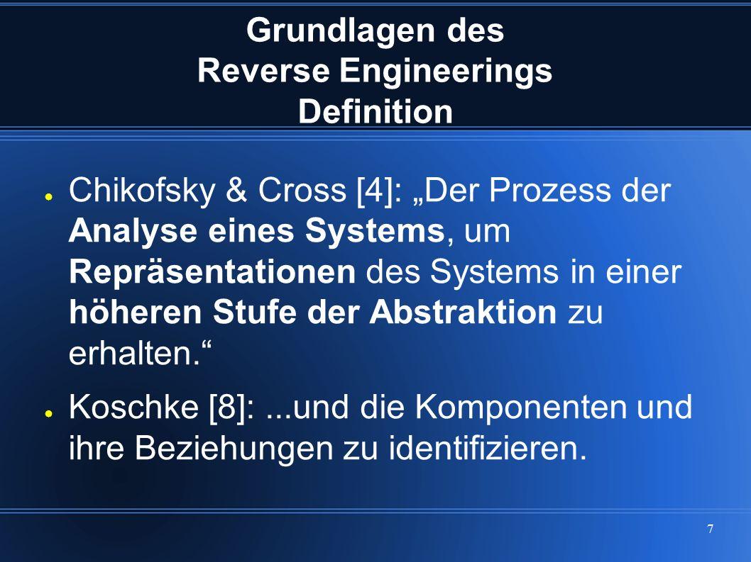 """7 Grundlagen des Reverse Engineerings Definition ● Chikofsky & Cross [4]: """"Der Prozess der Analyse eines Systems, um Repräsentationen des Systems in e"""