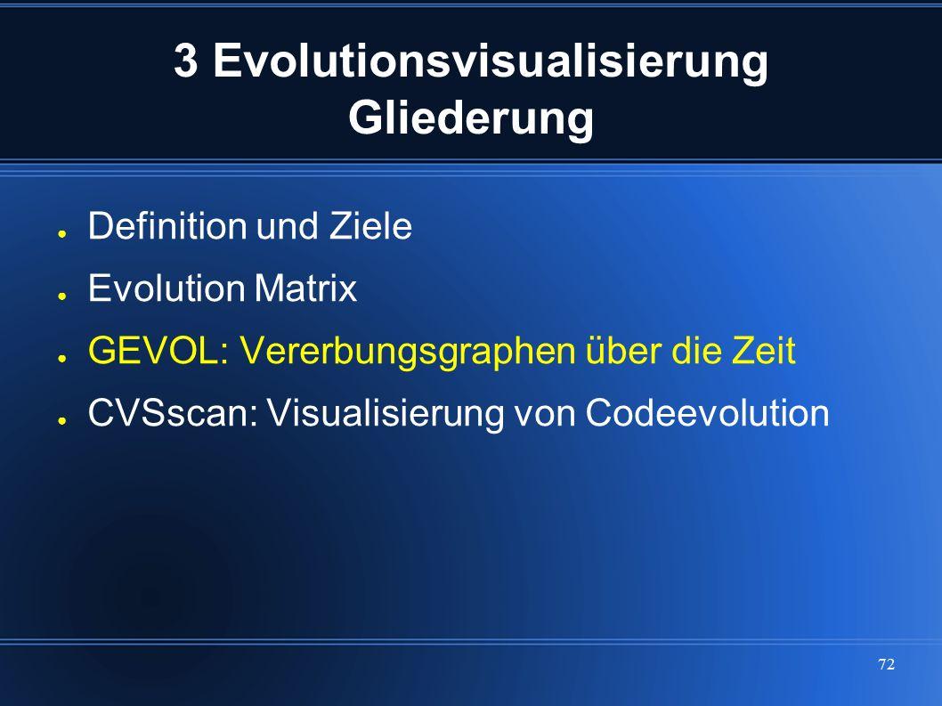 72 3 Evolutionsvisualisierung Gliederung ● Definition und Ziele ● Evolution Matrix ● GEVOL: Vererbungsgraphen über die Zeit ● CVSscan: Visualisierung