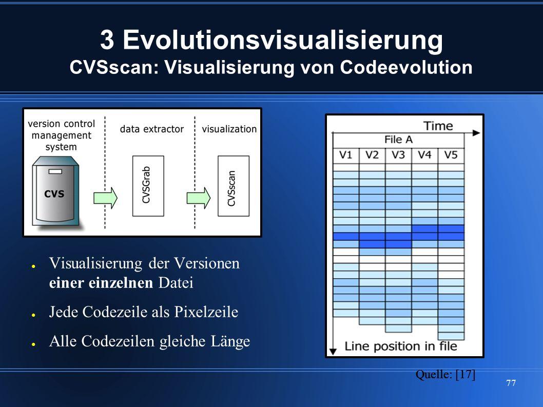 77 3 Evolutionsvisualisierung CVSscan: Visualisierung von Codeevolution ● Visualisierung der Versionen einer einzelnen Datei ● Jede Codezeile als Pixe