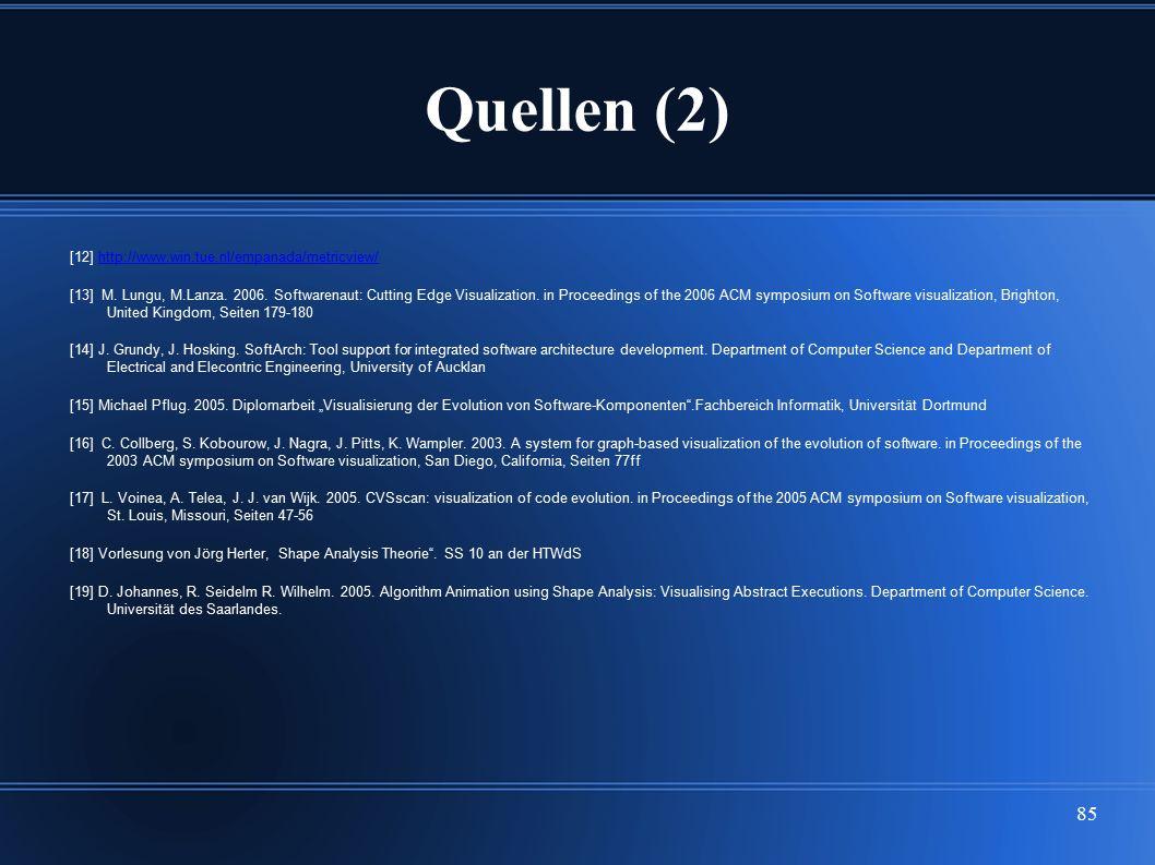 85 Quellen (2) [12] http://www.win.tue.nl/empanada/metricview/http://www.win.tue.nl/empanada/metricview/ [13] M. Lungu, M.Lanza. 2006. Softwarenaut: C
