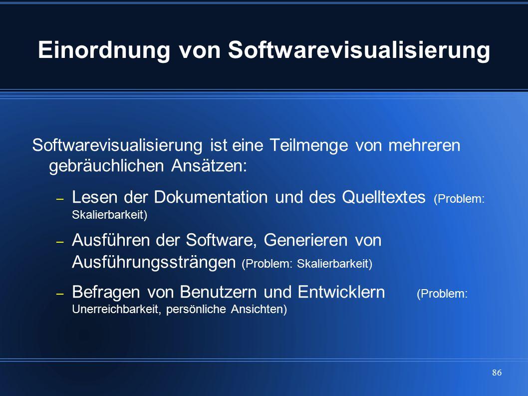 86 Einordnung von Softwarevisualisierung Softwarevisualisierung ist eine Teilmenge von mehreren gebräuchlichen Ansätzen: – Lesen der Dokumentation und