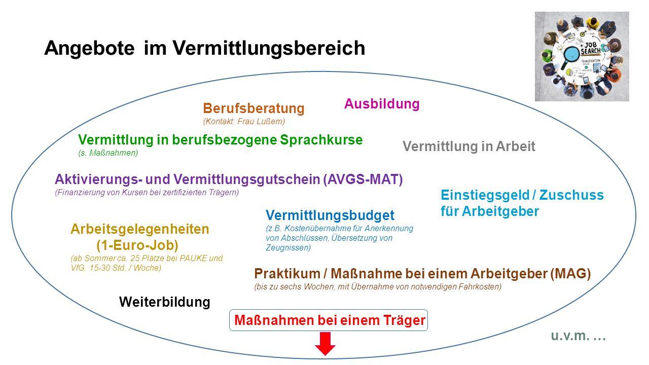 Angebote im Vermittlungsbereich Maßnahmen bei einem Träger Vermittlung in berufsbezogene Sprachkurse (s.