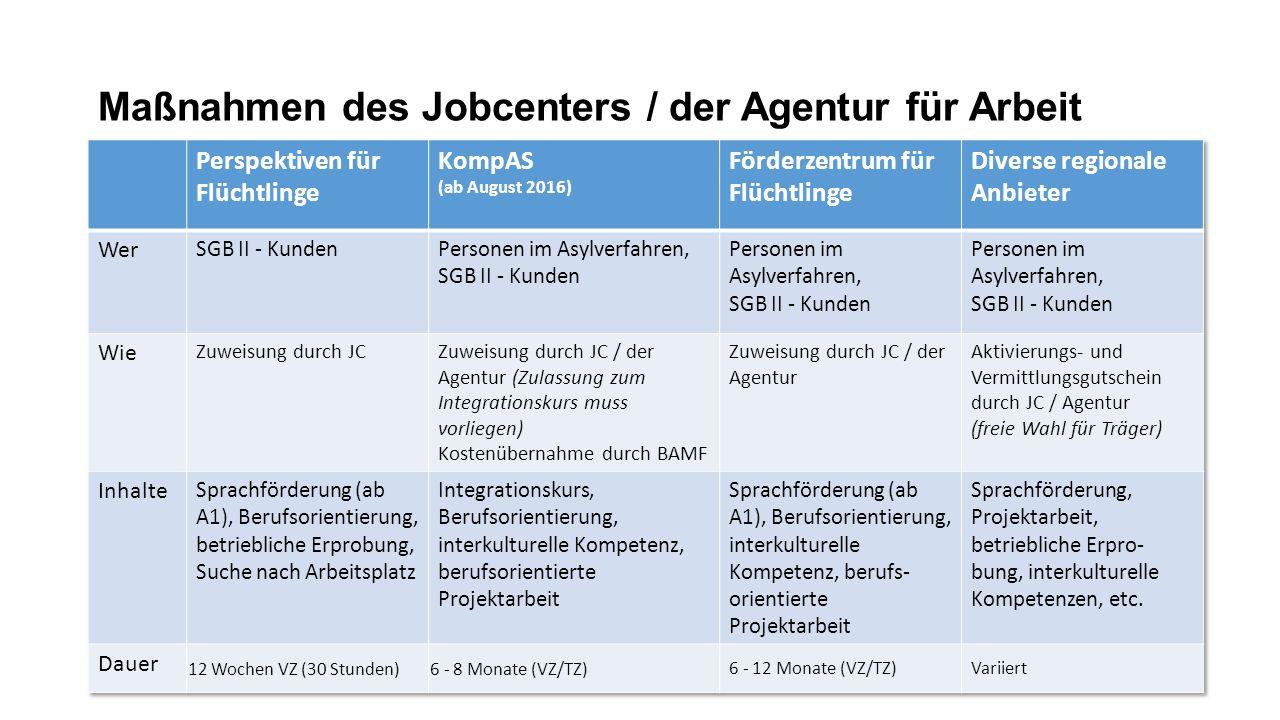 Maßnahmen des Jobcenters / der Agentur für Arbeit