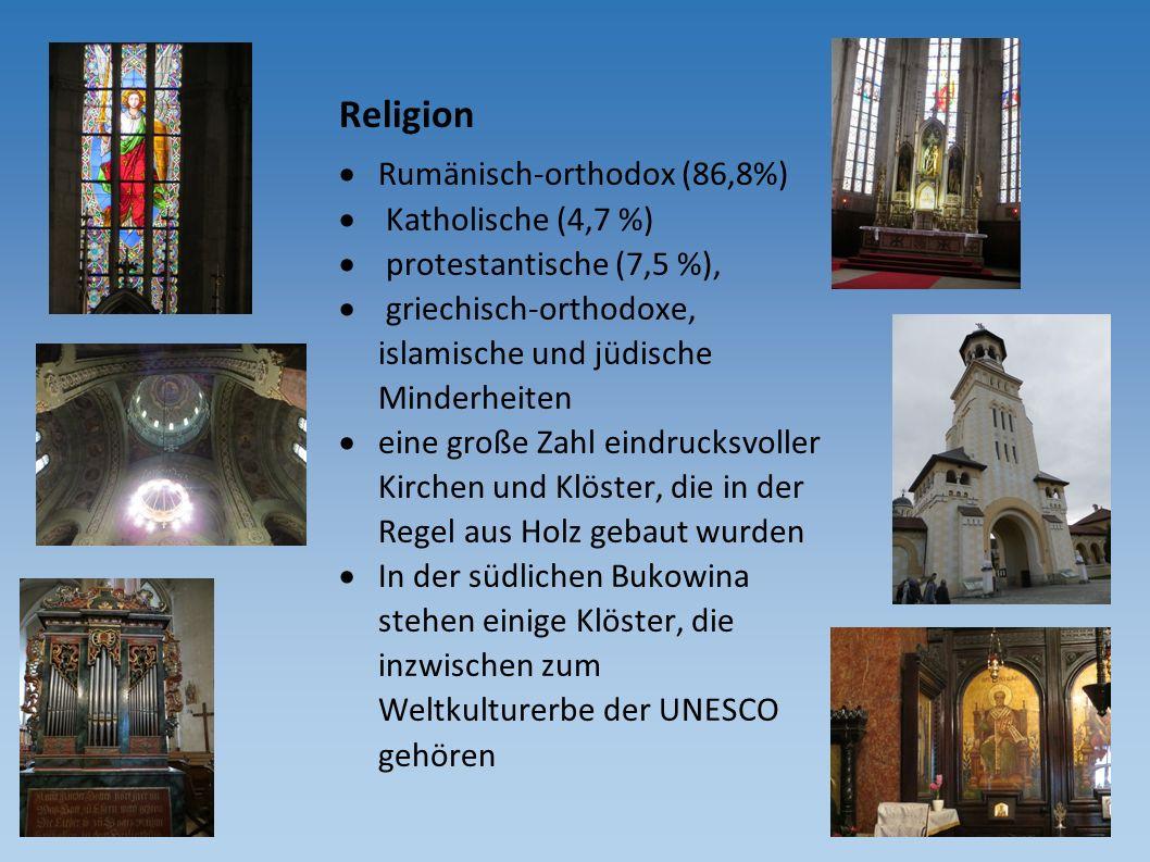 Religion  Rumänisch-orthodox (86,8%)  Katholische (4,7 %)  protestantische (7,5 %),  griechisch-orthodoxe, islamische und jüdische Minderheiten 