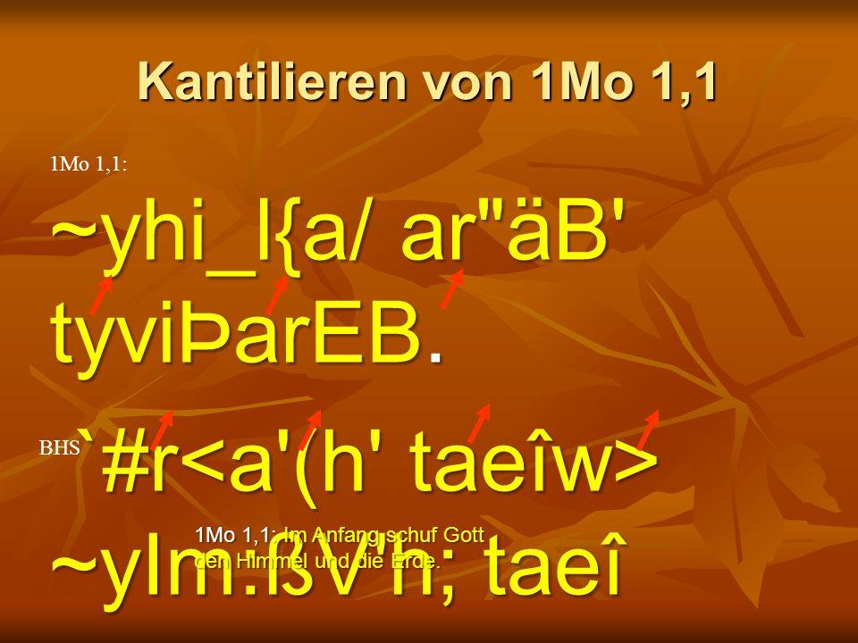 Kantilieren von 1Mo 1,1 1Mo 1,1: ~yhi_l{a/ ar äB tyviÞarEB.