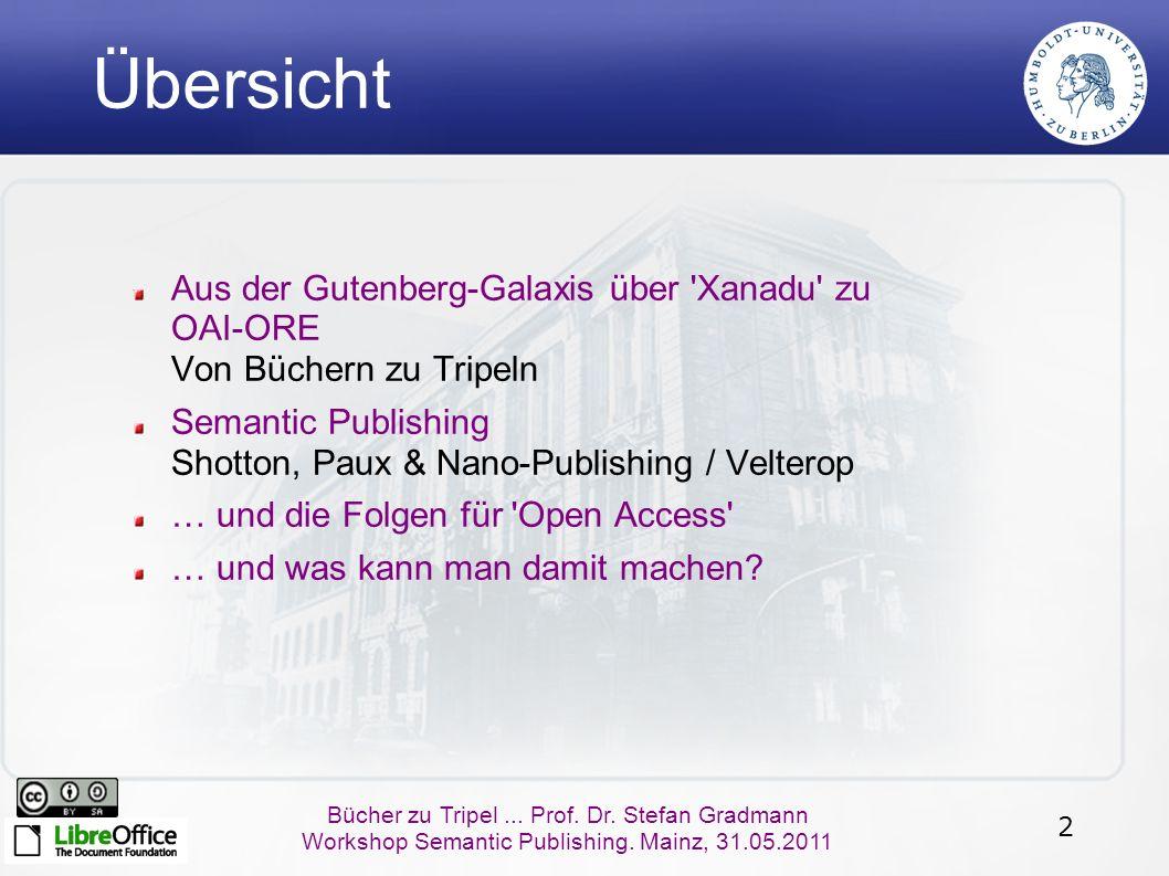 2 Bücher zu Tripel... Prof. Dr. Stefan Gradmann Workshop Semantic Publishing. Mainz, 31.05.2011 Übersicht Aus der Gutenberg-Galaxis über 'Xanadu' zu O