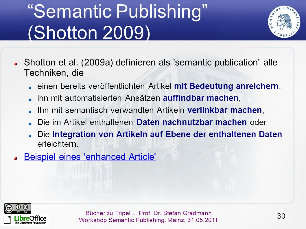 "30 Bücher zu Tripel... Prof. Dr. Stefan Gradmann Workshop Semantic Publishing. Mainz, 31.05.2011 ""Semantic Publishing"" (Shotton 2009) Shotton et al. ("