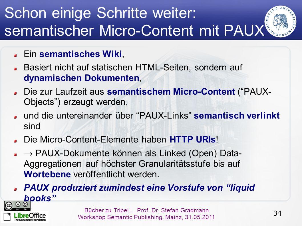 34 Bücher zu Tripel... Prof. Dr. Stefan Gradmann Workshop Semantic Publishing. Mainz, 31.05.2011 Schon einige Schritte weiter: semantischer Micro-Cont