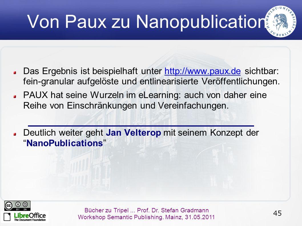 45 Bücher zu Tripel... Prof. Dr. Stefan Gradmann Workshop Semantic Publishing. Mainz, 31.05.2011 Von Paux zu Nanopublications Das Ergebnis ist beispie