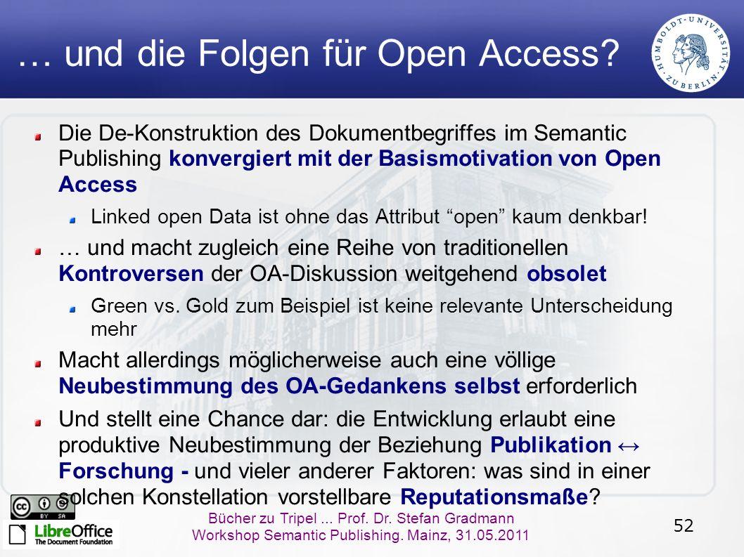 52 Bücher zu Tripel... Prof. Dr. Stefan Gradmann Workshop Semantic Publishing. Mainz, 31.05.2011 … und die Folgen für Open Access? Die De-Konstruktion