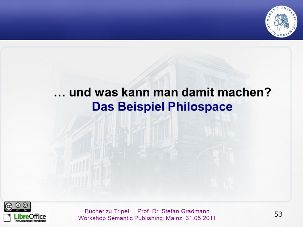 53 Bücher zu Tripel... Prof. Dr. Stefan Gradmann Workshop Semantic Publishing.