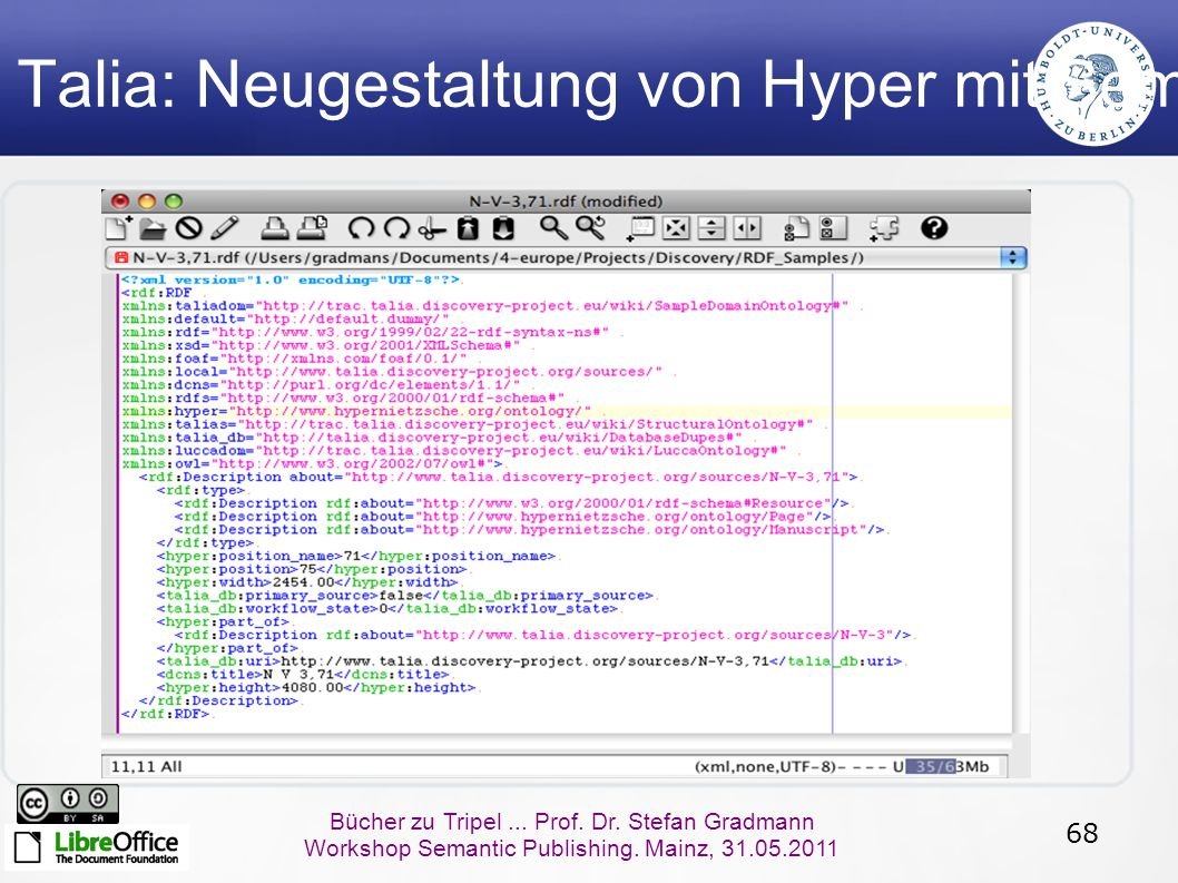 68 Bücher zu Tripel... Prof. Dr. Stefan Gradmann Workshop Semantic Publishing. Mainz, 31.05.2011 Talia: Neugestaltung von Hyper mit Semantic Web Techn
