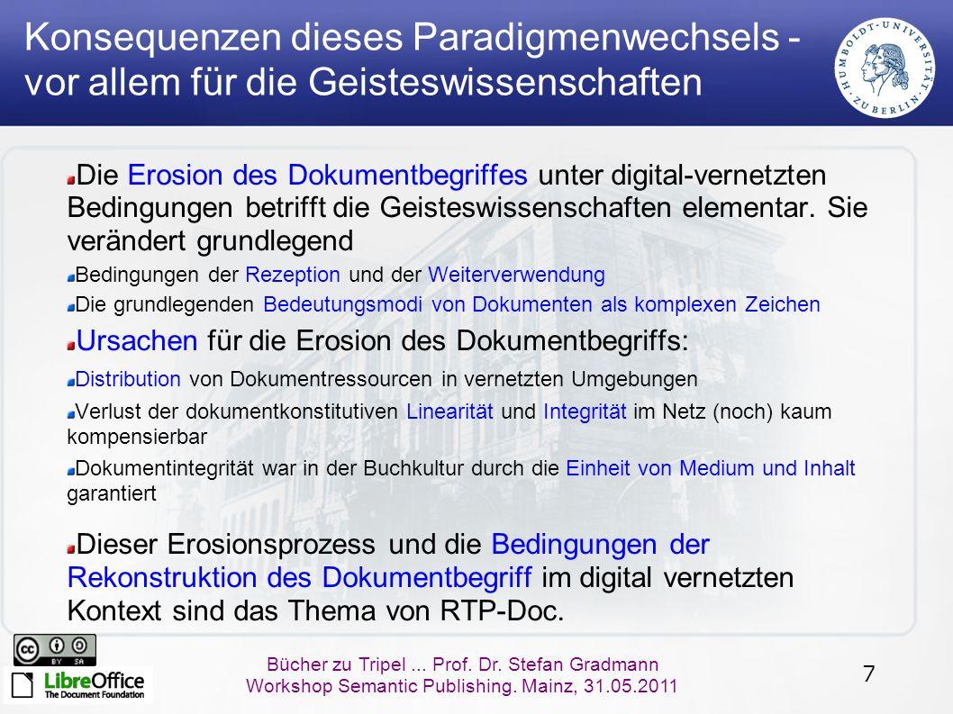 7 Bücher zu Tripel... Prof. Dr. Stefan Gradmann Workshop Semantic Publishing. Mainz, 31.05.2011 Konsequenzen dieses Paradigmenwechsels - vor allem für