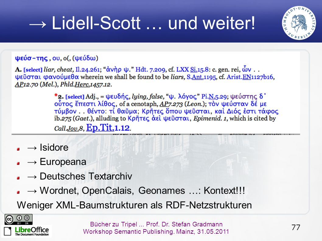 77 Bücher zu Tripel... Prof. Dr. Stefan Gradmann Workshop Semantic Publishing. Mainz, 31.05.2011 → Lidell-Scott … und weiter! → Isidore → Europeana →