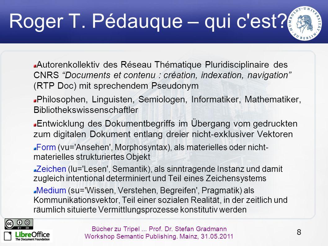 19 Bücher zu Tripel...Prof. Dr. Stefan Gradmann Workshop Semantic Publishing.