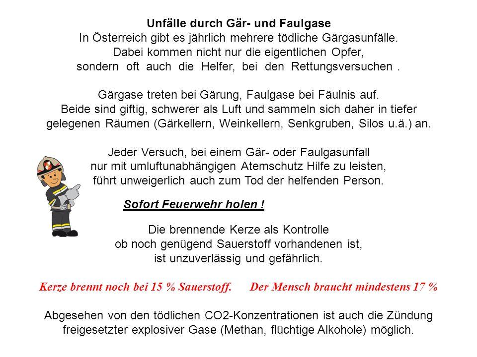 Unfälle durch Gär- und Faulgase In Österreich gibt es jährlich mehrere tödliche Gärgasunfälle. Dabei kommen nicht nur die eigentlichen Opfer, sondern