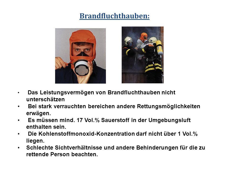 Das Leistungsvermögen von Brandfluchthauben nicht unterschätzen Bei stark verrauchten bereichen andere Rettungsmöglichkeiten erwägen. Es müssen mind.