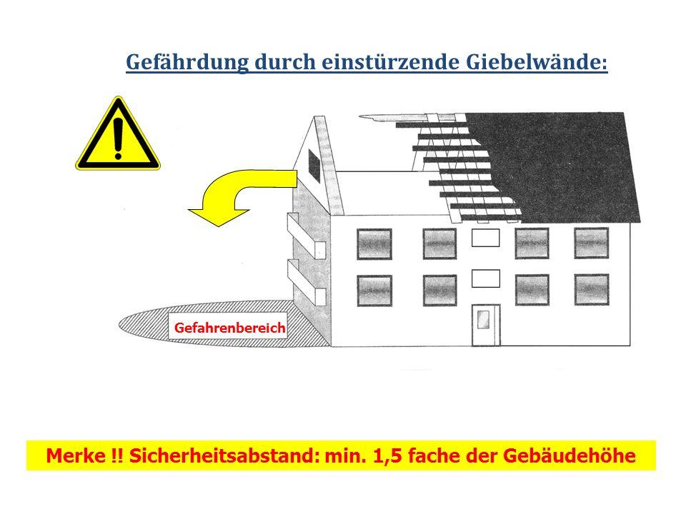 Gefährdung durch einstürzende Giebelwände: Merke !! Sicherheitsabstand: min. 1,5 fache der Gebäudehöhe Gefahrenbereich