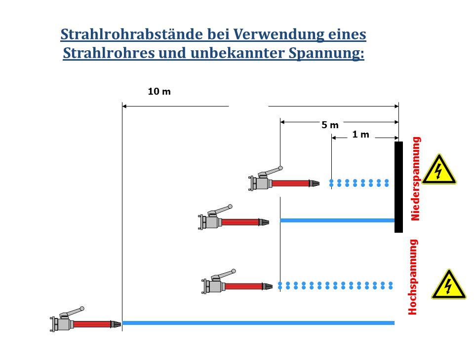 Strahlrohrabstände bei Verwendung eines Strahlrohres und unbekannter Spannung: 1 m 5 m 10 m Niederspannung Hochspannung