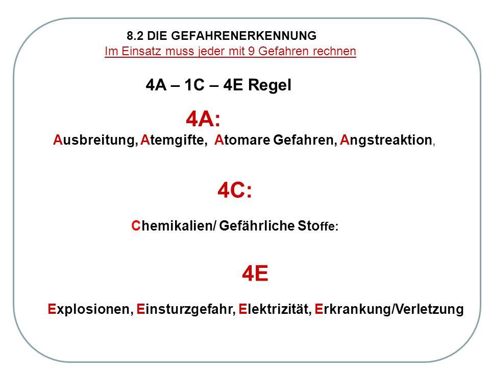 8.2 DIE GEFAHRENERKENNUNG Im Einsatz muss jeder mit 9 Gefahren rechnen 4A – 1C – 4E Regel 4A: Ausbreitung, Atemgifte, Atomare Gefahren, Angstreaktion, 4E Explosionen, Einsturzgefahr, Elektrizität, Erkrankung/Verletzung 4C: Chemikalien/ Gefährliche Sto ffe: