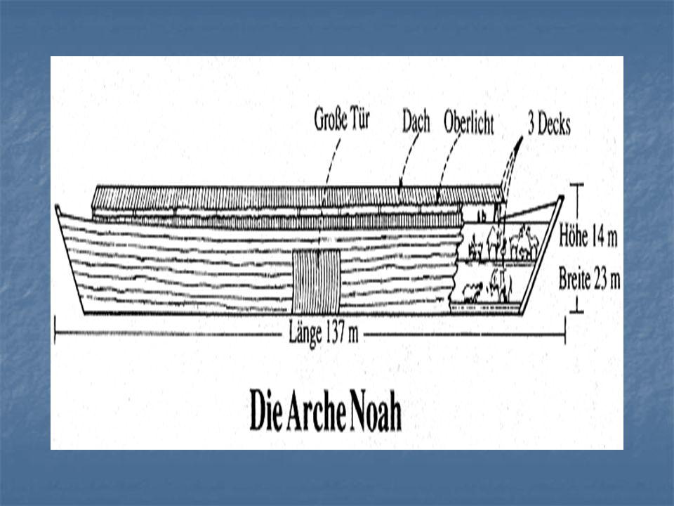 Die Flut Gott gibt 120 Jahre Warnung Gott gibt 120 Jahre Warnung Die Arche war wirklich gross Die Arche war wirklich gross Das Resultat war verheerend