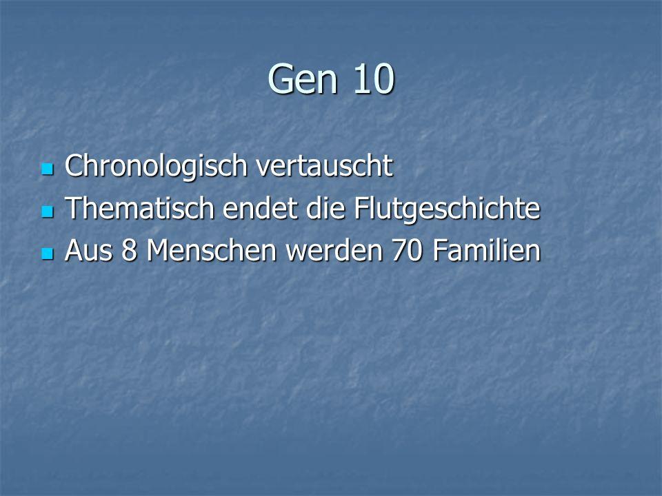 Gen 10 Chronologisch vertauscht Chronologisch vertauscht Thematisch endet die Flutgeschichte Thematisch endet die Flutgeschichte Aus 8 Menschen werden 70 Familien Aus 8 Menschen werden 70 Familien