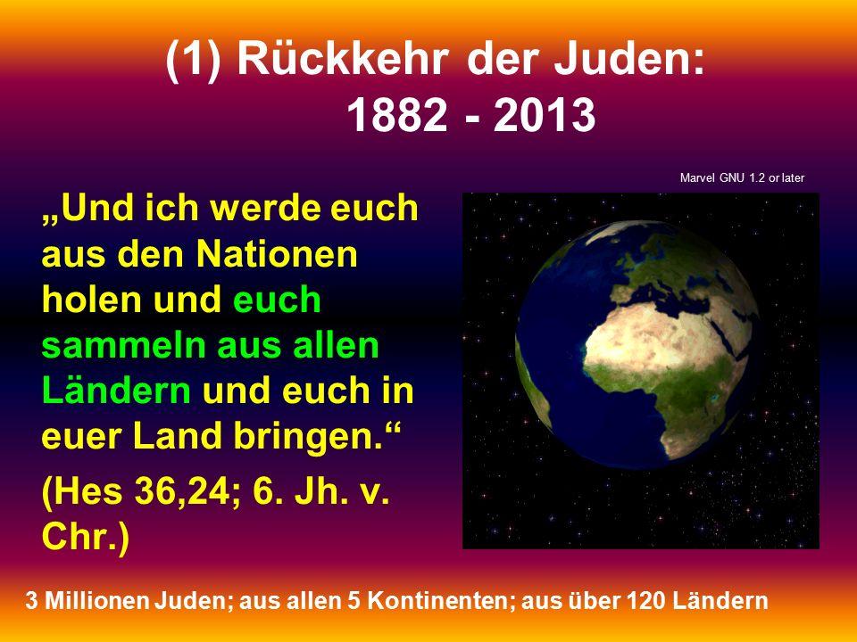 """(1)Rückkehr der Juden: 1882 - 2013 """"Und ich werde euch aus den Nationen holen und euch sammeln aus allen Ländern und euch in euer Land bringen."""" (Hes"""