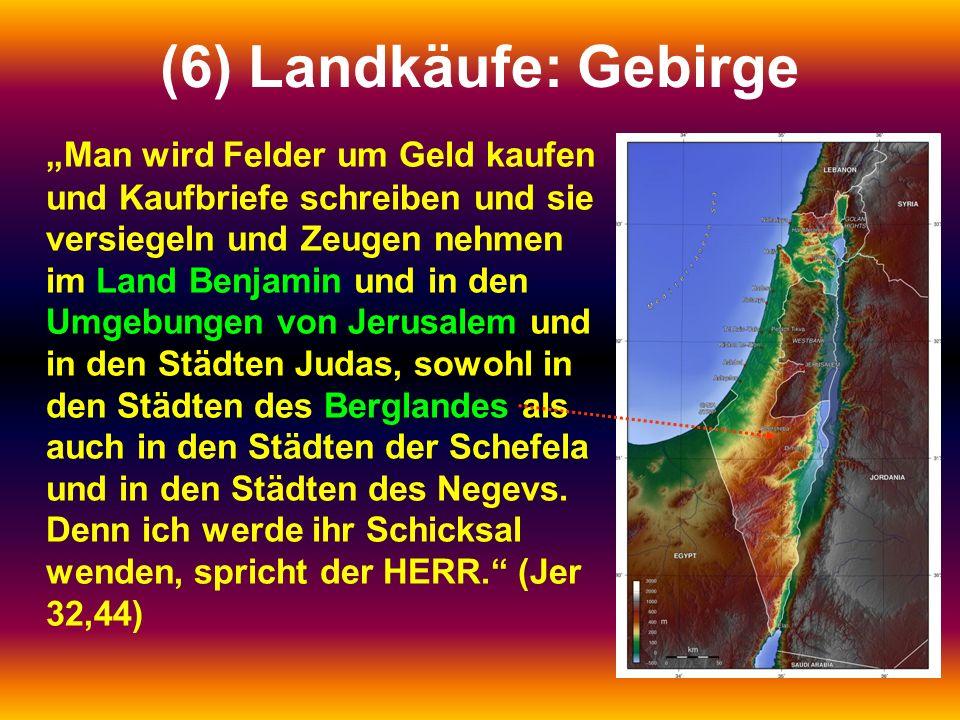 """(6) Landkäufe: Gebirge """"Man wird Felder um Geld kaufen und Kaufbriefe schreiben und sie versiegeln und Zeugen nehmen im Land Benjamin und in den Umgeb"""