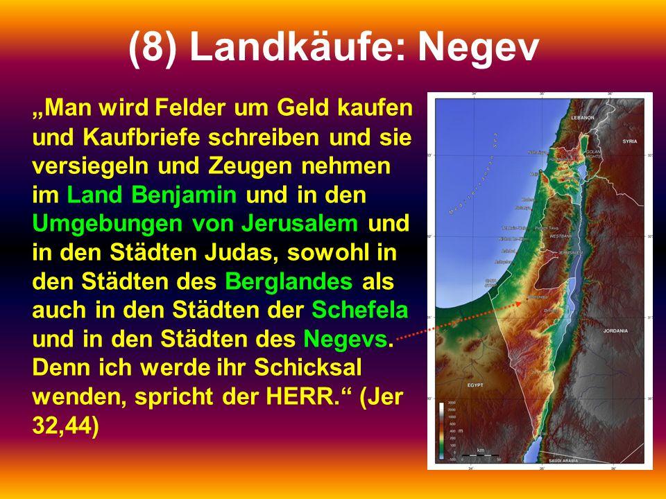 """(8) Landkäufe: Negev """"Man wird Felder um Geld kaufen und Kaufbriefe schreiben und sie versiegeln und Zeugen nehmen im Land Benjamin und in den Umgebungen von Jerusalem und in den Städten Judas, sowohl in den Städten des Berglandes als auch in den Städten der Schefela und in den Städten des Negevs."""