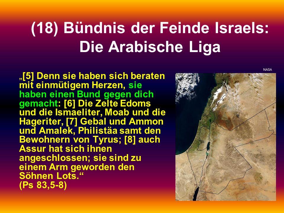 """(18) Bündnis der Feinde Israels: Die Arabische Liga """"[5] Denn sie haben sich beraten mit einmütigem Herzen, sie haben einen Bund gegen dich gemacht: [6] Die Zelte Edoms und die Ismaeliter, Moab und die Hageriter, [7] Gebal und Ammon und Amalek, Philistäa samt den Bewohnern von Tyrus; [8] auch Assur hat sich ihnen angeschlossen; sie sind zu einem Arm geworden den Söhnen Lots. (Ps 83,5-8) NASA"""