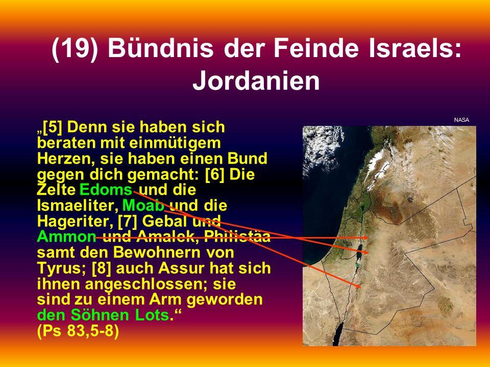 """(19) Bündnis der Feinde Israels: Jordanien """"[5] Denn sie haben sich beraten mit einmütigem Herzen, sie haben einen Bund gegen dich gemacht: [6] Die Zelte Edoms und die Ismaeliter, Moab und die Hageriter, [7] Gebal und Ammon und Amalek, Philistäa samt den Bewohnern von Tyrus; [8] auch Assur hat sich ihnen angeschlossen; sie sind zu einem Arm geworden den Söhnen Lots. (Ps 83,5-8) NASA"""