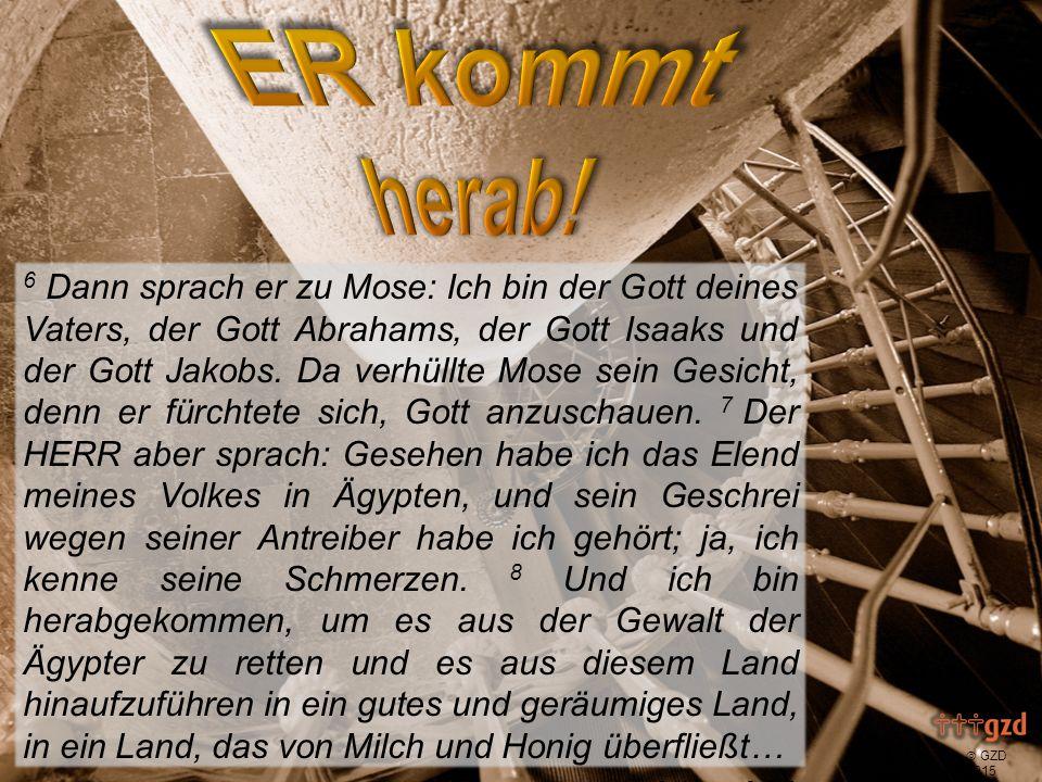  GZD 2015 Gesehen 6 Dann sprach er zu Mose: Ich bin der Gott deines Vaters, der Gott Abrahams, der Gott Isaaks und der Gott Jakobs.