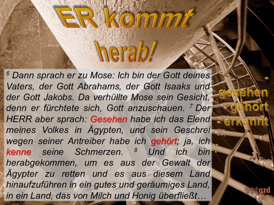  GZD 2015 Gesehen gehört kenne 6 Dann sprach er zu Mose: Ich bin der Gott deines Vaters, der Gott Abrahams, der Gott Isaaks und der Gott Jakobs.