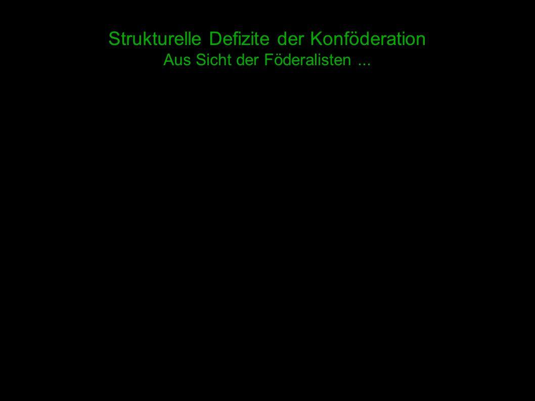 4 Strukturelle Defizite der Konföderation Aus Sicht der Föderalisten...