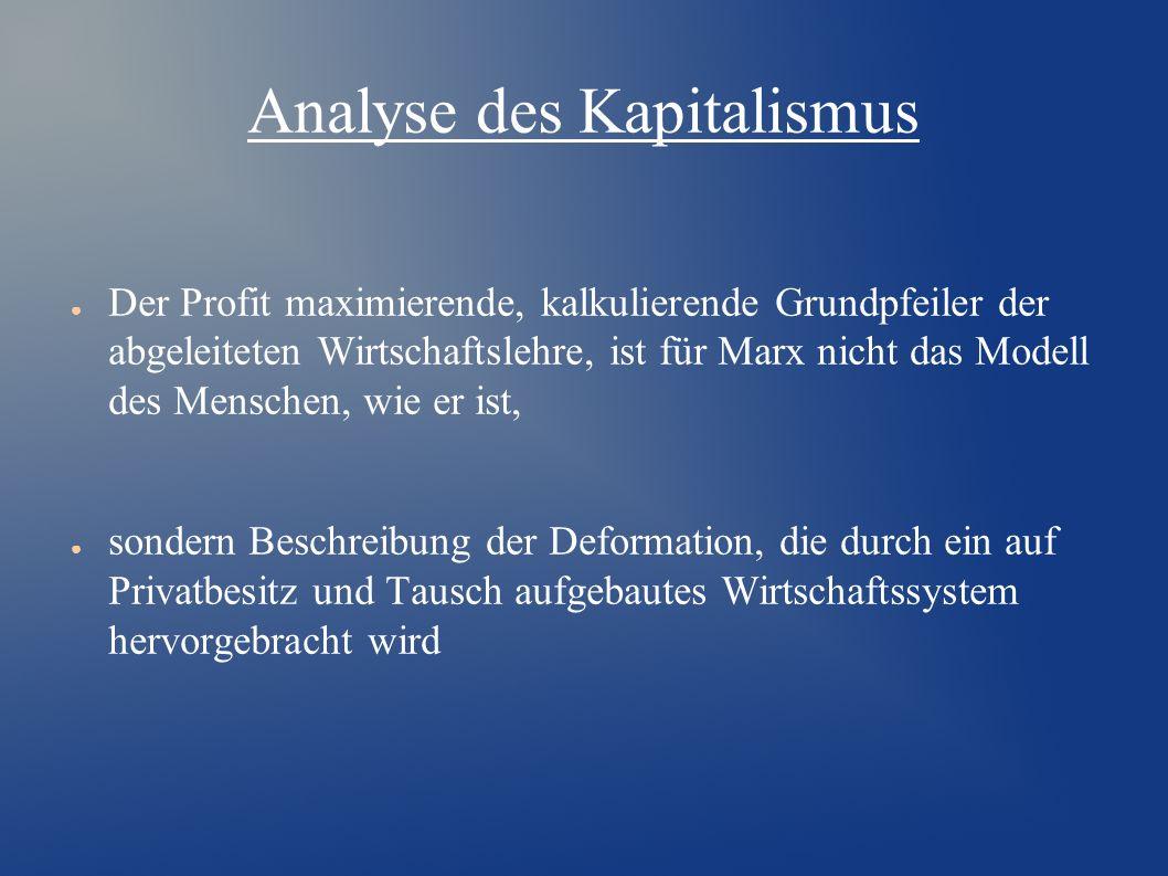 Analyse des Kapitalismus ● Der Profit maximierende, kalkulierende Grundpfeiler der abgeleiteten Wirtschaftslehre, ist für Marx nicht das Modell des Menschen, wie er ist, ● sondern Beschreibung der Deformation, die durch ein auf Privatbesitz und Tausch aufgebautes Wirtschaftssystem hervorgebracht wird