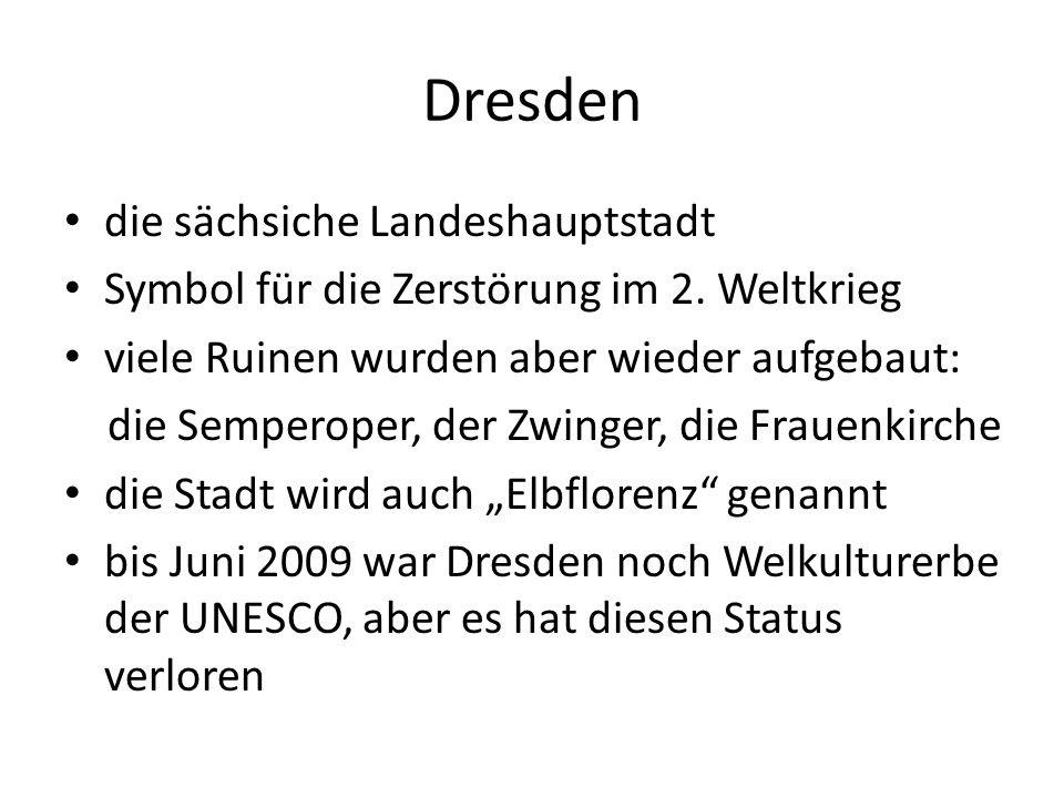 Dresden die sächsiche Landeshauptstadt Symbol für die Zerstörung im 2.