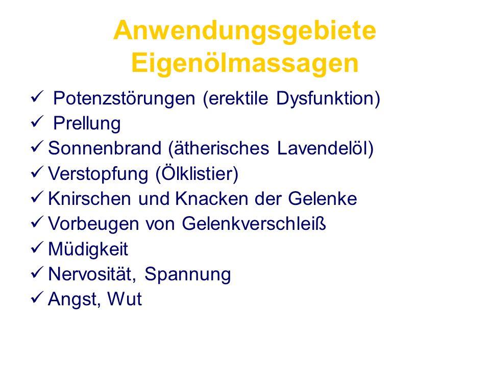 Anwendungsgebiete Eigenölmassagen Potenzstörungen (erektile Dysfunktion) Prellung Sonnenbrand (ätherisches Lavendelöl) Verstopfung (Ölklistier) Knirsc