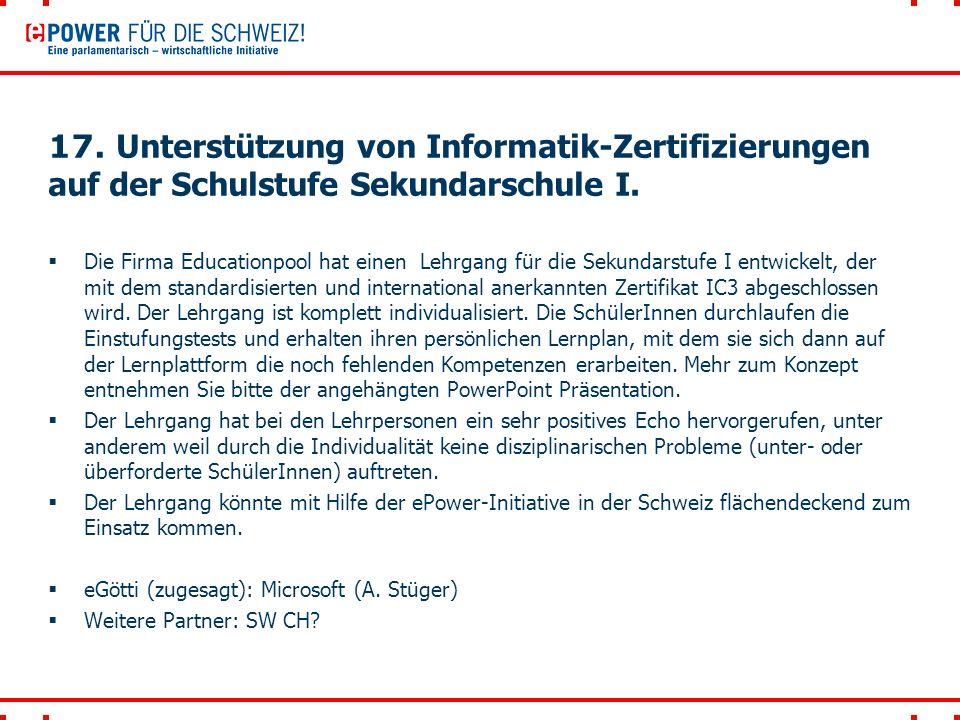 17. Unterstützung von Informatik-Zertifizierungen auf der Schulstufe Sekundarschule I.
